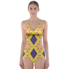 Tribal shapes and rhombus pattern                        Cut-Out One Piece Swimsuit