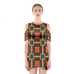 Connected Shapes In Retro Colors                         Women s Cutout Shoulder Dress