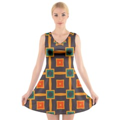 Connected Shapes In Retro Colors                     V Neck Sleeveless Dress