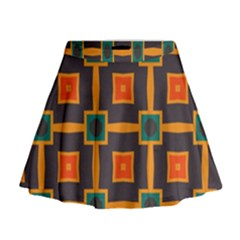 Connected Shapes In Retro Colors                           Mini Flare Skirt