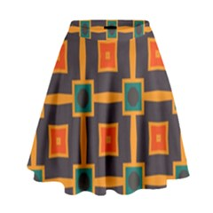 Connected Shapes In Retro Colors                           High Waist Skirt