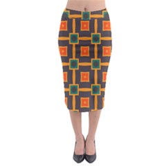 Connected shapes in retro colors                           Midi Pencil Skirt