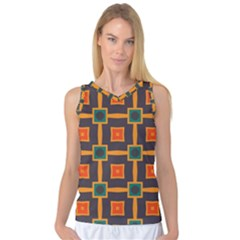 Connected Shapes In Retro Colors                         Women s Basketball Tank Top