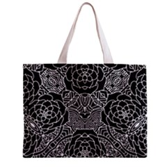 Petals in Black White, Bold Flower Design Zipper Mini Tote Bag