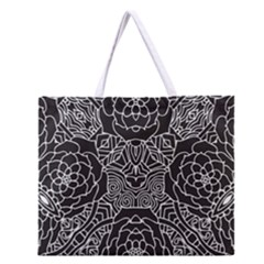 Petals In Black White, Bold Flower Design Zipper Large Tote Bag