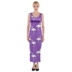 Flamingos Pattern White Purple Fitted Maxi Dress