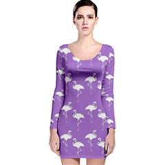 Flamingos Pattern White Purple Long Sleeve Velvet Bodycon Dress