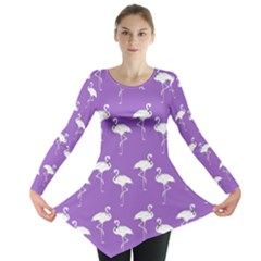 Flamingos Pattern White Purple Long Sleeve Tunic