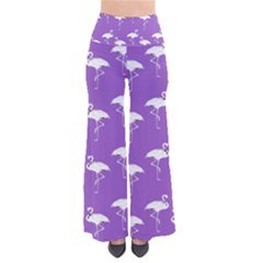 Flamingos Pattern White Purple Pants