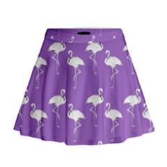 Flamingos Pattern White Purple Mini Flare Skirt