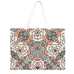 Petals In Vintage Pink, Bold Flower Design Zipper Large Tote Bag