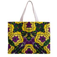 Petals in Mardi Gras colors, Bold Floral Design Zipper Mini Tote Bag