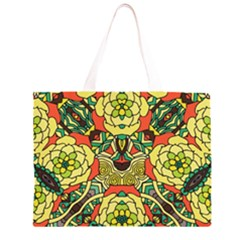 Petals, Retro Yellow, Bold Flower Design Zipper Large Tote Bag