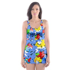 Rectangles Mix                          Skater Dress Swimsuit