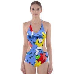 Rectangles mix                          Cut-Out One Piece Swimsuit