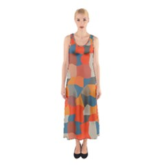 Retro Colors Distorted Shapes                           Full Print Maxi Dress