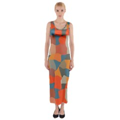 Retro Colors Distorted Shapes                           Fitted Maxi Dress