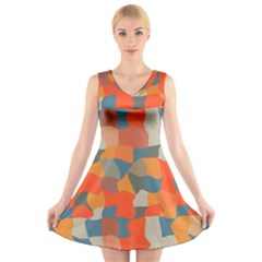 Retro colors distorted shapes                       V-Neck Sleeveless Dress