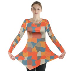 Retro colors distorted shapes                           Long Sleeve Tunic