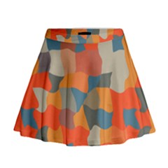 Retro Colors Distorted Shapes                             Mini Flare Skirt