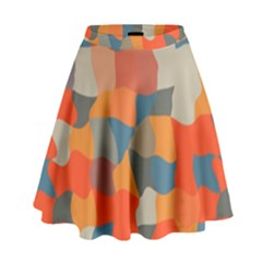 Retro colors distorted shapes                             High Waist Skirt