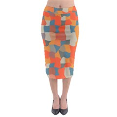 Retro colors distorted shapes                             Midi Pencil Skirt