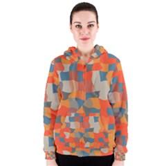 Retro colors distorted shapes                           Women s Zipper Hoodie