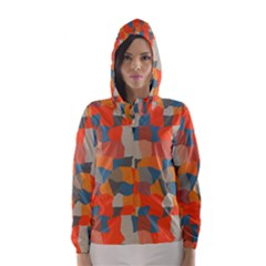Retro colors distorted shapes                           Hooded Wind Breaker (Women)