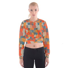 Retro colors distorted shapes                             Women s Cropped Sweatshirt