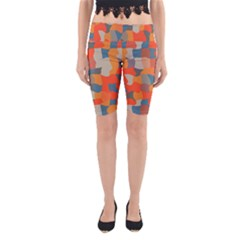 Retro colors distorted shapes                           Yoga Cropped Leggings