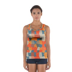 Retro colors distorted shapes                           Women s Sport Tank Top