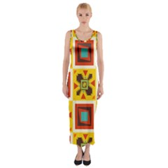 Retro Colors Squares Pattern                            Fitted Maxi Dress