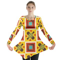 Retro colors squares pattern                            Long Sleeve Tunic