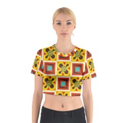 Retro colors squares pattern                            Cotton Crop Top