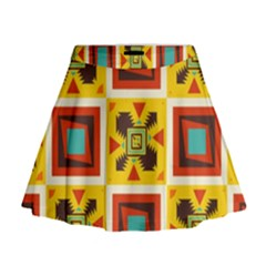 Retro colors squares pattern                              Mini Flare Skirt