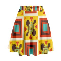Retro Colors Squares Pattern                              High Waist Skirt