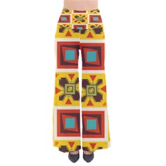 Retro colors squares pattern           Women s Chic Palazzo Pants