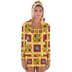 Retro Colors Squares Pattern                            Women s Long Sleeve Hooded T Shirt