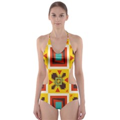 Retro colors squares pattern                            Cut-Out One Piece Swimsuit
