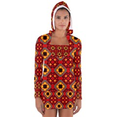 Flower shapes pattern                             Women s Long Sleeve Hooded T-shirt