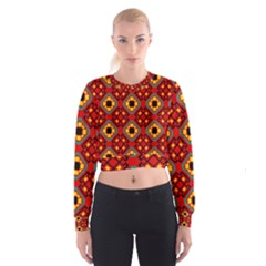 Flower Shapes Pattern                               Women s Cropped Sweatshirt