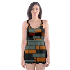 Rectangles in retro colors                              Skater Dress Swimsuit