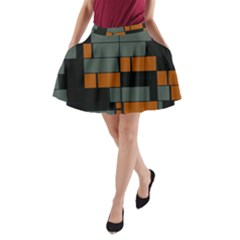 Rectangles In Retro Colors                              A Line Pocket Skirt