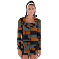 Rectangles in retro colors                              Women s Long Sleeve Hooded T-shirt