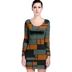 Rectangles In Retro Colors                              Long Sleeve Velvet Bodycon Dress