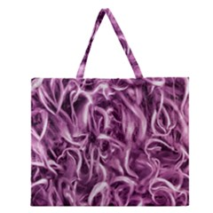 Textured Abstract Print Zipper Large Tote Bag