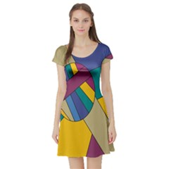 Unknown Abstract Modern Art By Eml180516 Short Sleeve Skater Dress