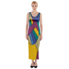 Unknown Abstract Modern Art By Eml180516 Fitted Maxi Dress