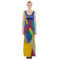 Unknown Abstract Modern Art By Eml180516 Maxi Thigh Split Dress