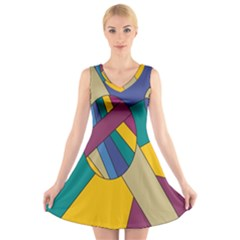 Unknown Abstract Modern Art By Eml180516 V-Neck Sleeveless Skater Dress